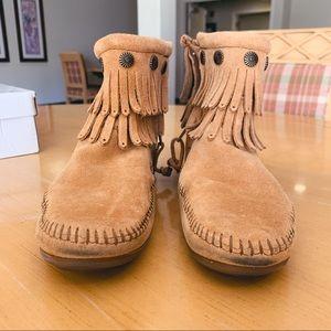 Minnetonka Double Fringe Ankle Booties
